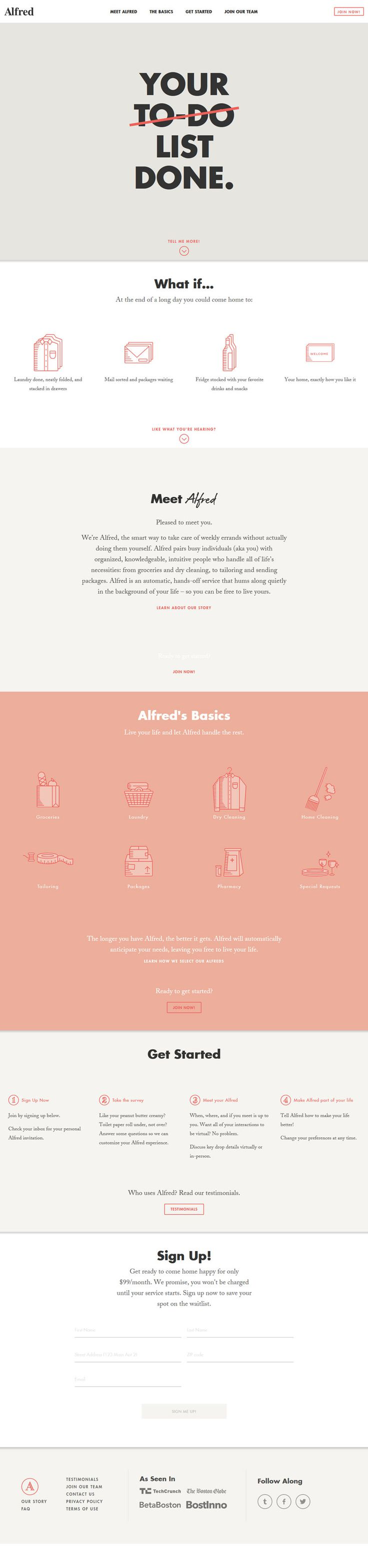 Alfred minimal design website i love the color pallet and one