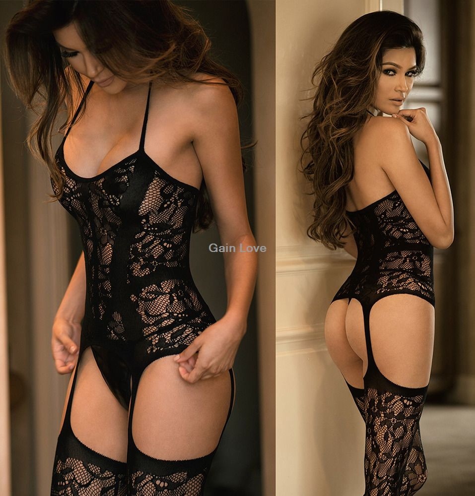 a28f05585b  7.59 - Women Lace Open Butt Black Body Stocking Suspender Teddy Nightwear  Bodysuit  ebay  Fashion