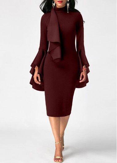 Burgundy Flare Sleeve Mock Neck Sheath Dress Rosewe Com