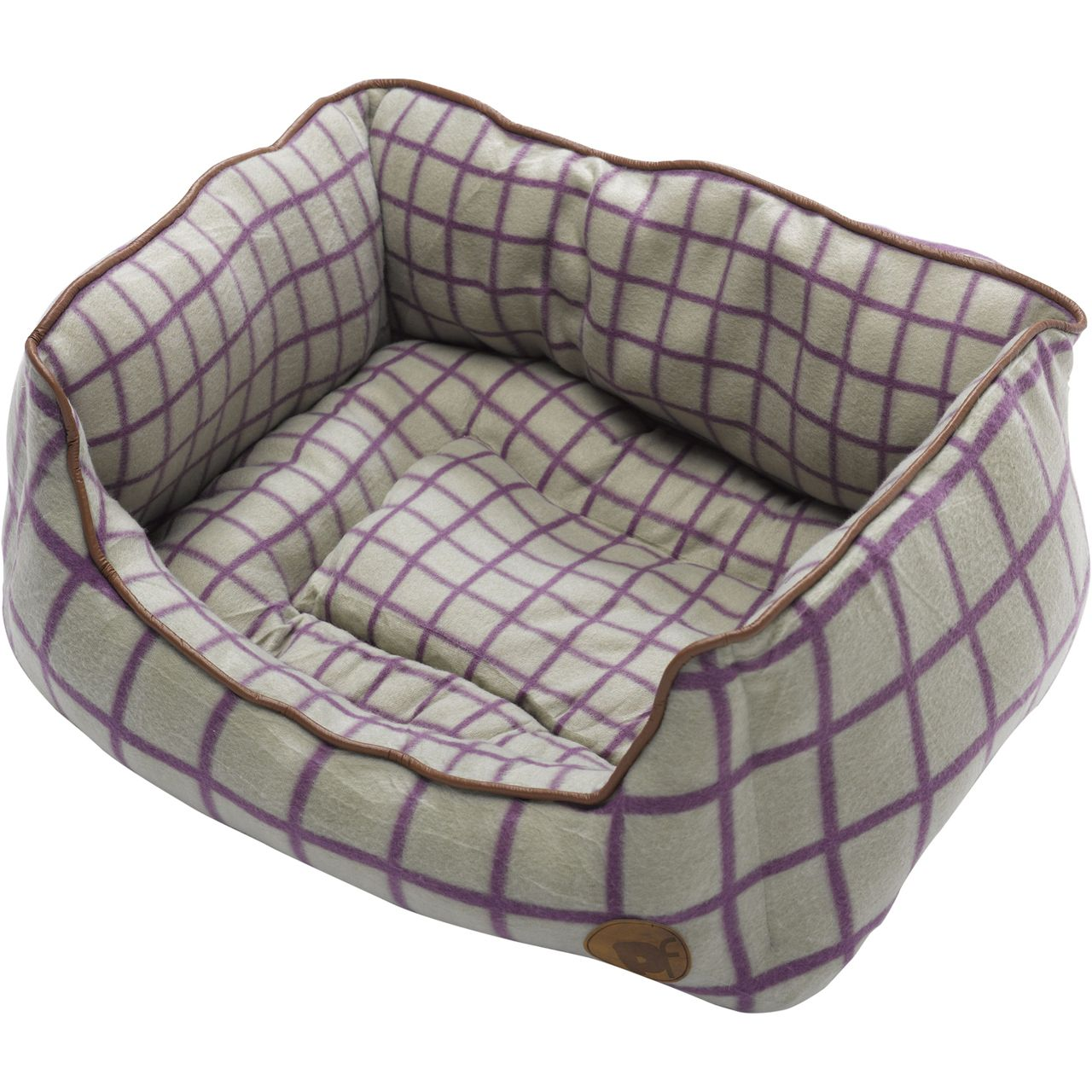 Petface Green & Purple Window Pane Check Square Dog Bed