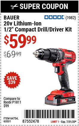Bauer 20v Hypermax Lithium 1 2 In Drill Driver Kit For 59 99 In 2020 Harbor Freight Tools Drill Driver Drill
