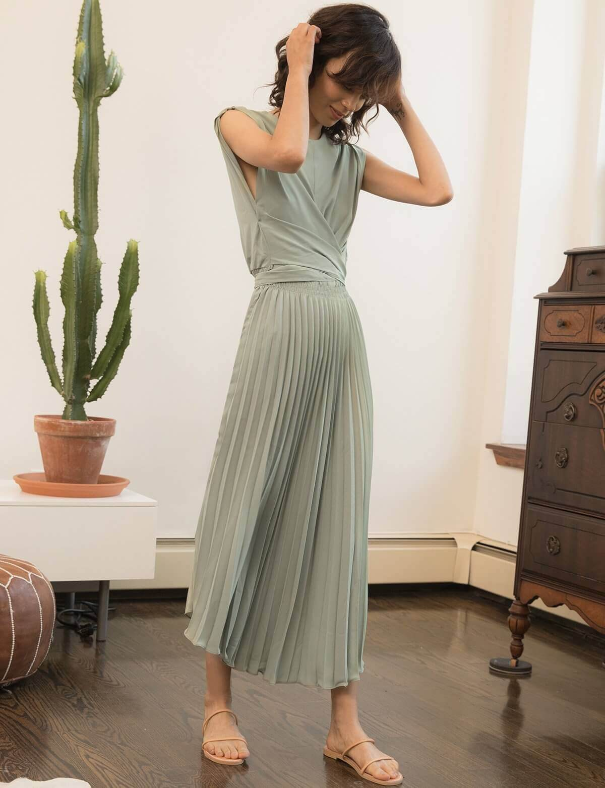 Melody Pleated Dress Pleated Dress Pleated Maxi Dress Sage Dress [ 1563 x 1200 Pixel ]