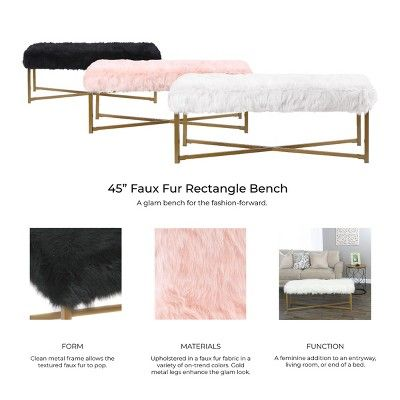 Incredible Faux Fur White Rectangle Bench Homepop In 2019 End Of Uwap Interior Chair Design Uwaporg