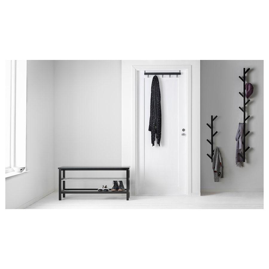 Ikea Tjusig Black Bench With Shoe Storage Banc Avec
