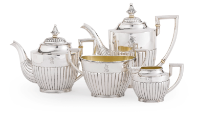 A Fabergé Silver Four-Piece Tea and Coffee Service, Moscow, circa 1910