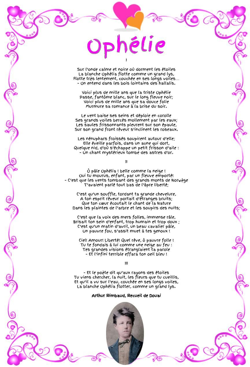 Ophélie Arthur Rimbaud Ophelie Poesie D Amour Et Triste
