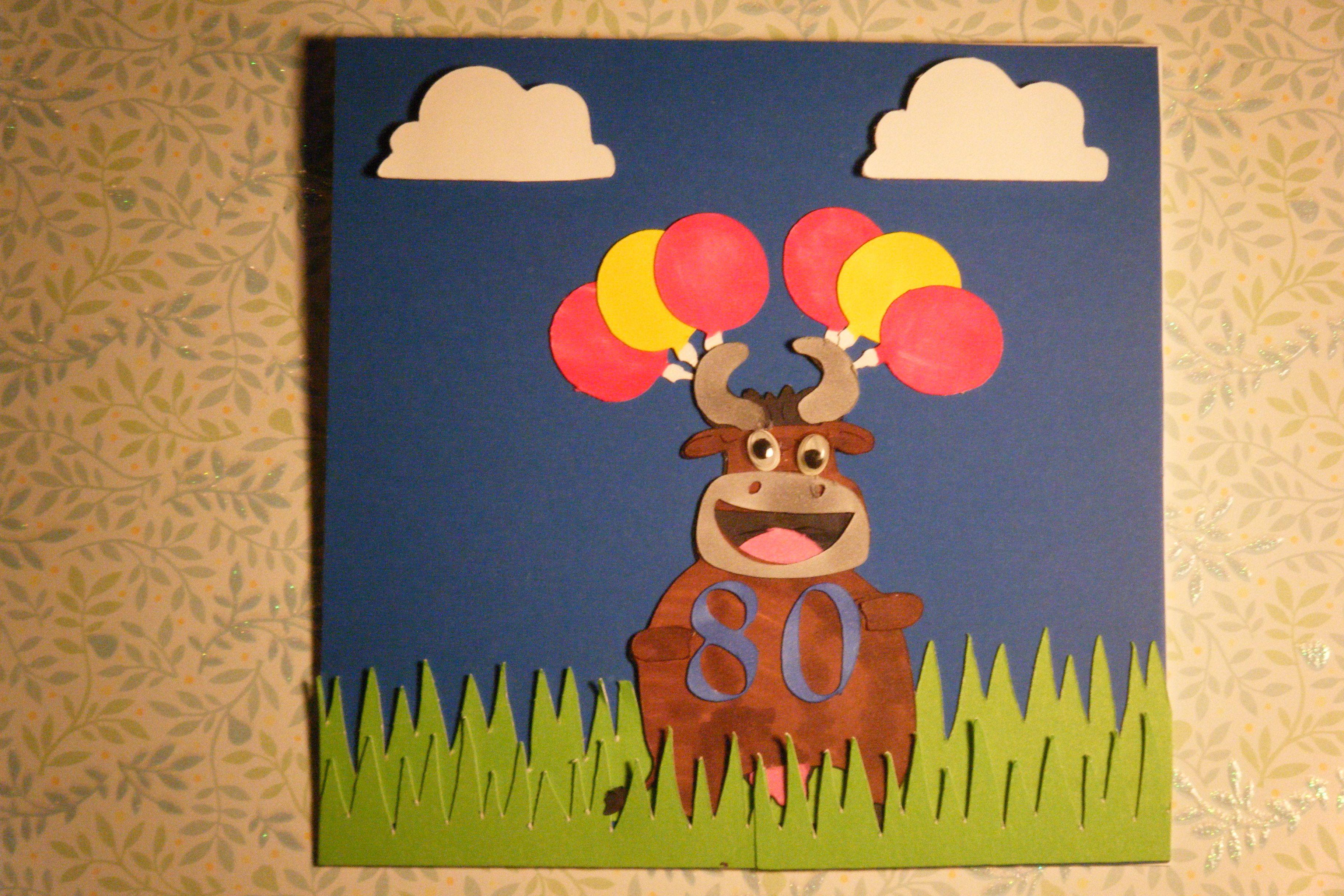 Cow Themed 80th Birthday Card