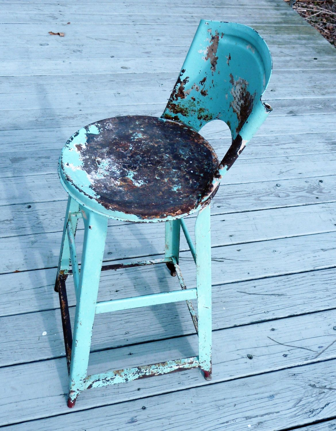 Mint green shabby chic industrial vintage metal stool rusty chippy ...