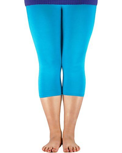 e33a5b8967f44 Passionate Adventure Women Bamboo Fibre Seamless Capri Pants Basic Soft  Cropped Elastic Leggings Plus Size Blue
