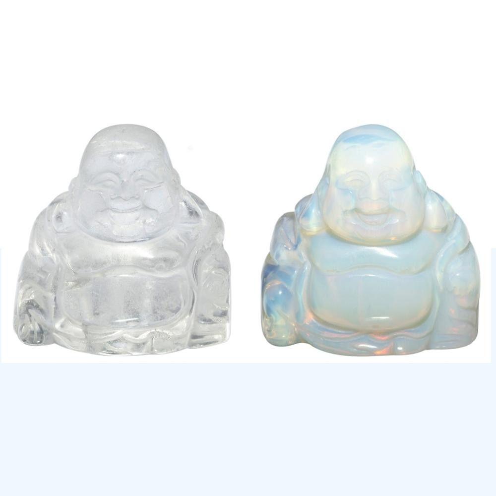 """Piedra tallada, Buda feliz Feng Shui, figura de bolsillo 1.5"""""""