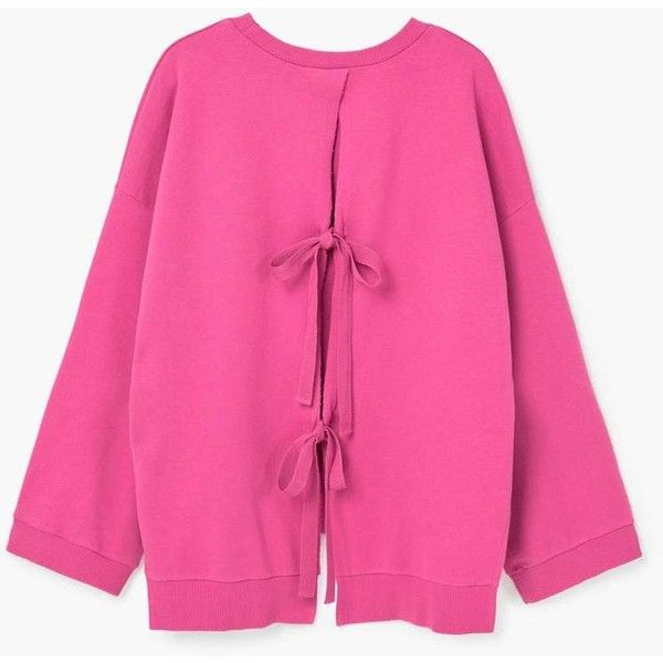 Bow Cotton Sweater (€35) ❤ liked on Polyvore featuring tops, sweaters, pink cable sweater, cotton cable knit sweater, cable sweater, cotton cable sweater and long sleeve sweater