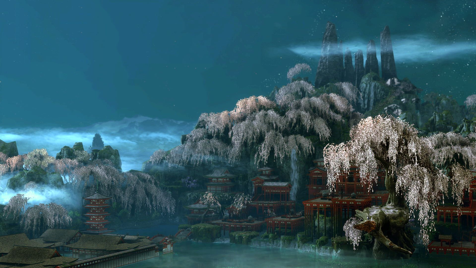 Sekiro Shadows Die Twice Screen Shot Video Game Art Cherry Blossom Pagoda Japan Water Mountains Night Sky Landscape Video Game Art Game Art Hd Wallpaper