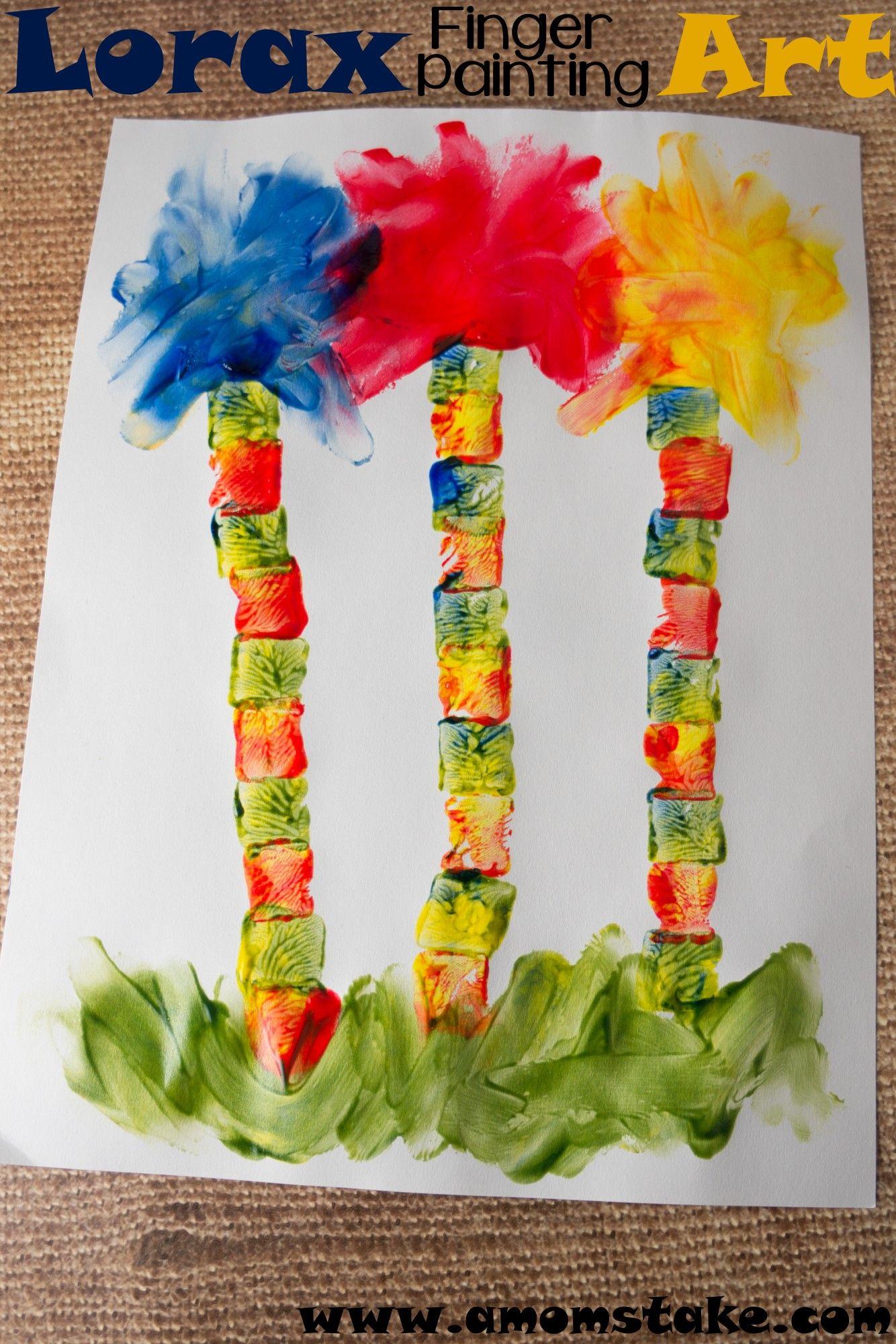 Lorax Finger Painting Art Drseuss