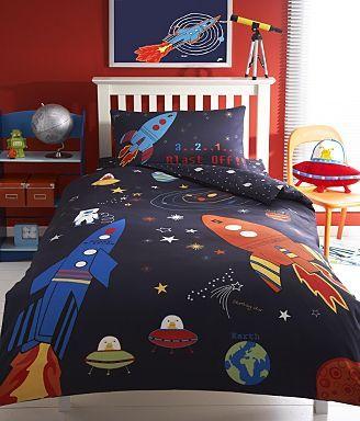 Blue rocket ship bed linen set - Kids bedroom - Kids ...