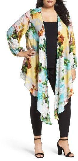 Plus Size Women's Melissa Mccarthy Seven7 Full Sleeve Drape Front Topper