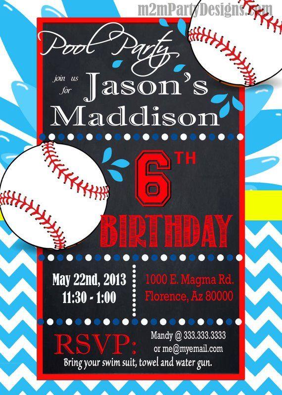 Baseball Pool Party Invitation
