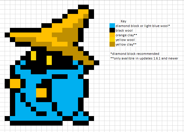 Gaming Pixel Art Templates Final Fantasy Black Mage