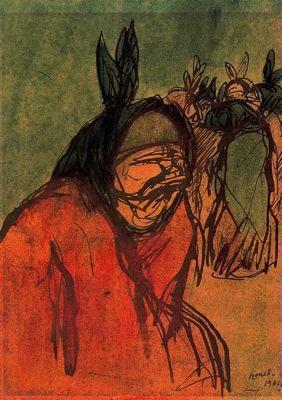 """""""Figura, 1904"""". Pluma, pastel y acuarela. 22,5 x 16,2 cms. Gabinete de Dibujos y Grabados del MNAC, Barcelona. España."""