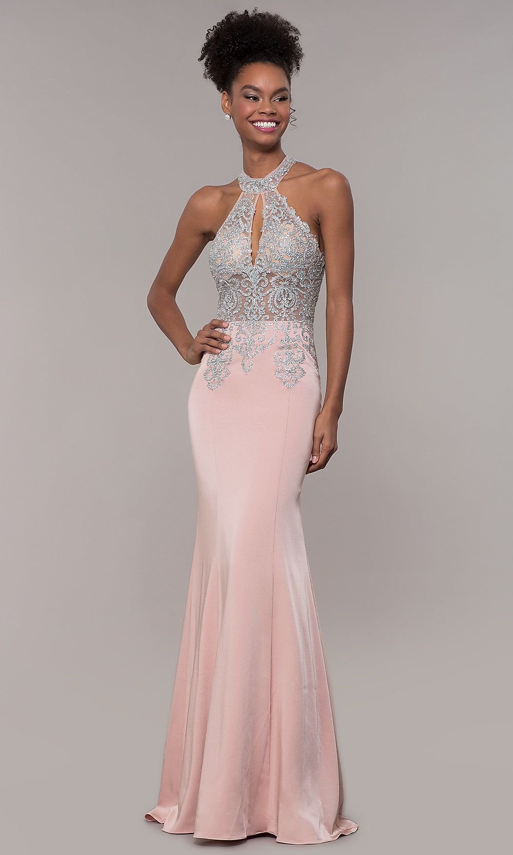 346ba48cabb High-Neck Embroidered JVNX by Jovani Long Prom Dress in 2019