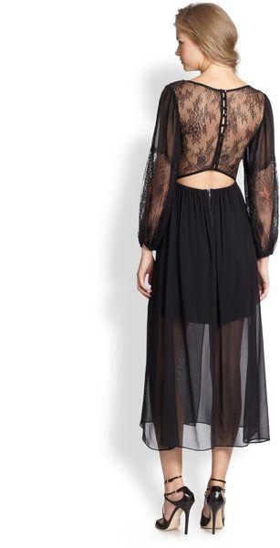 Alice + Olivia Saori Silk Lacetrim Combo Dress in Black - Lyst
