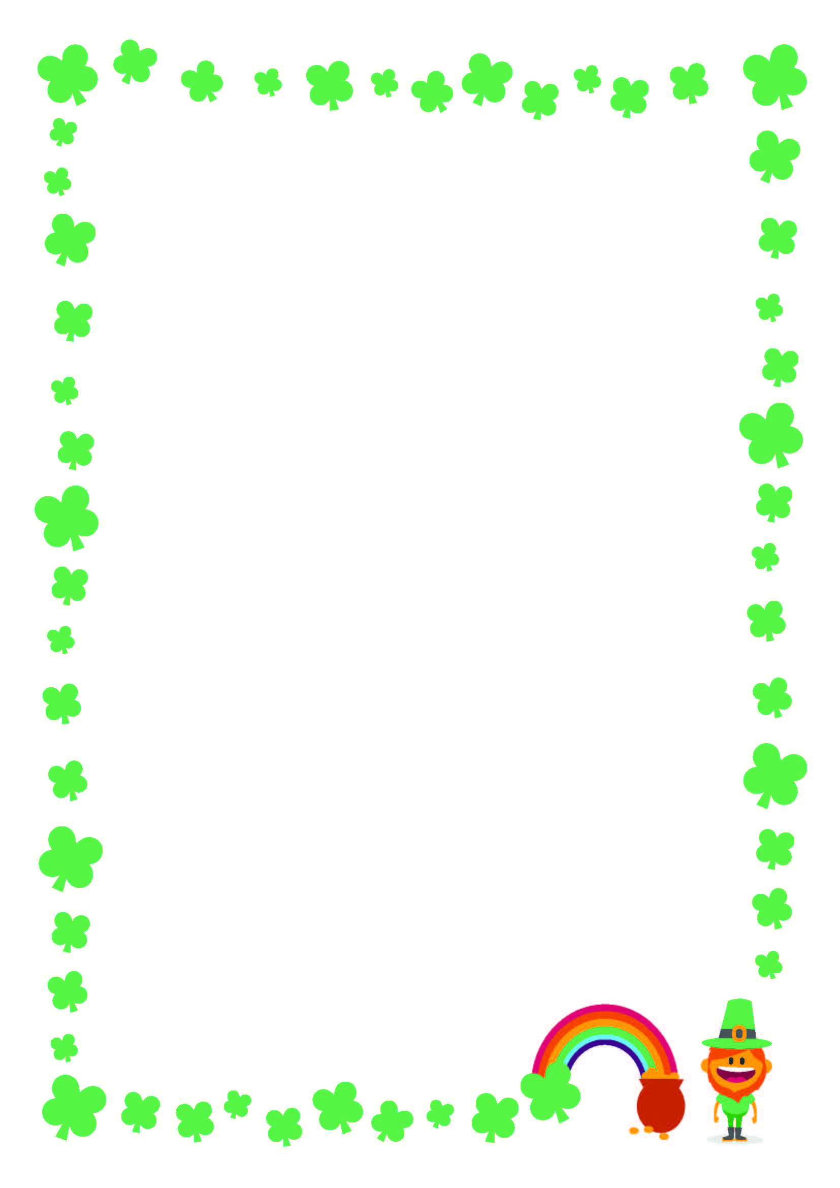 FREE St. Patricku0027s Day Printable Writing Paper With Clover Border