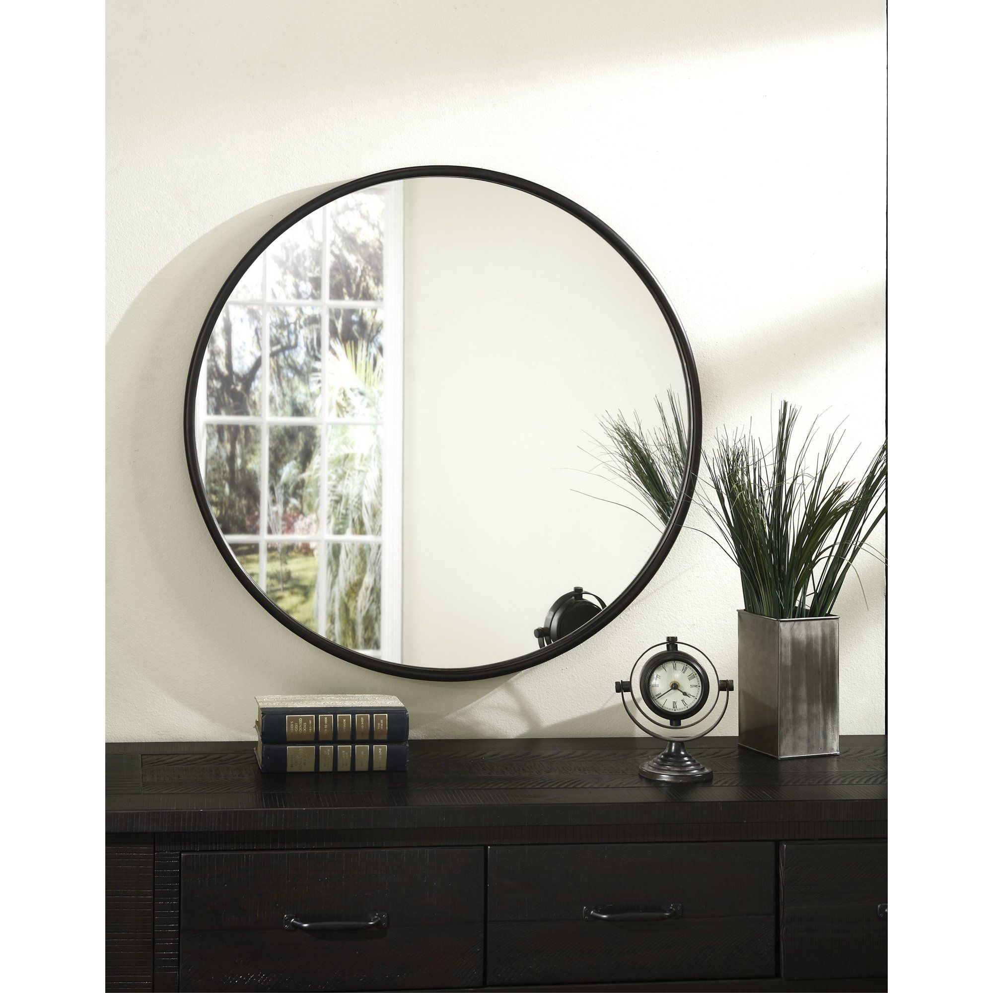 Martin Svensson Home 36 Framed Round Wall Mirror Oil Rubbed Bronze Walmart Com In 2021 Round Wall Mirror Framed Mirror Wall Bronze Mirror