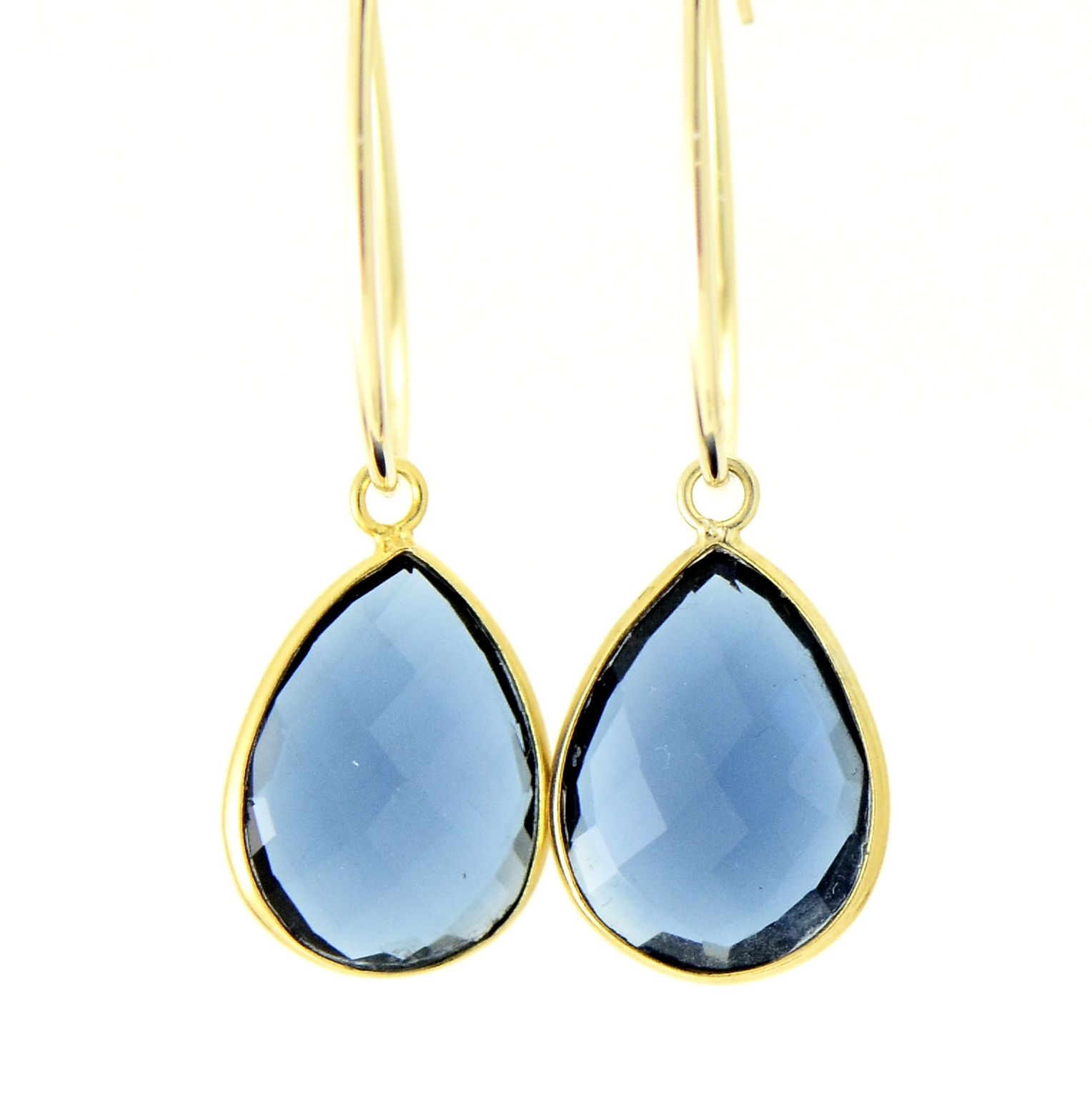 faceted blue crystal quartz teardrops look very cool in the hot summer