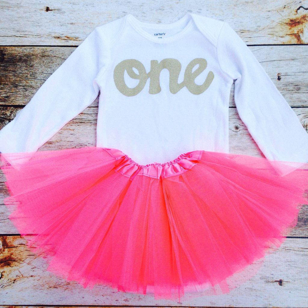 Watermelon pink tutu with long sleeve gold glitter one
