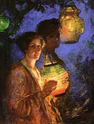 Japanese Lanterns  by Luther E Van Gorder  Giclee Canvas Print Repro