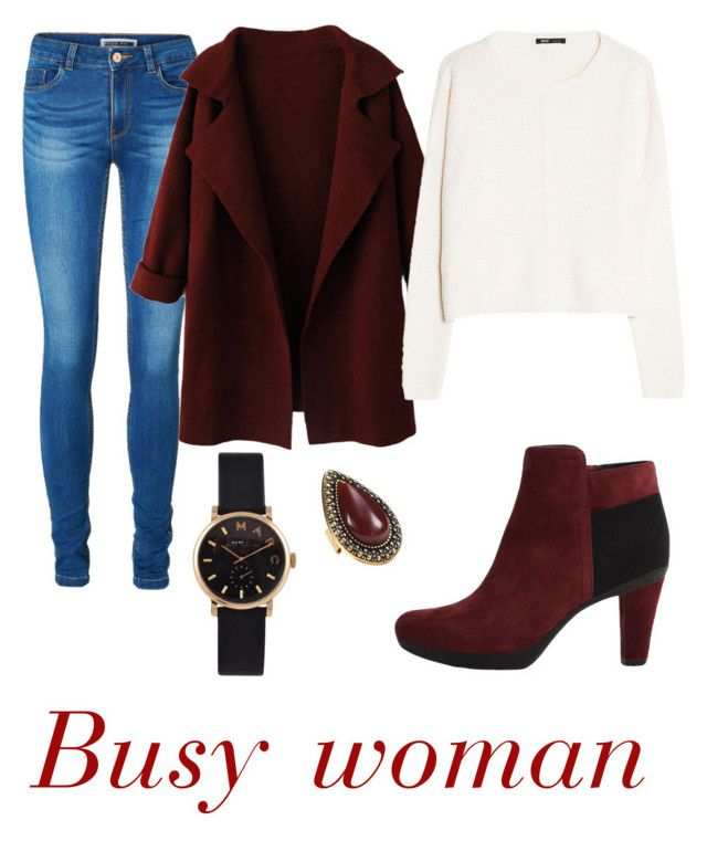 """""""Busy womam"""" by juleslook ❤ liked on Polyvore featuring Vero Moda, MANGO, Geox, Marc by Marc Jacobs, Samantha Wills, Elegant, busy and darkred"""