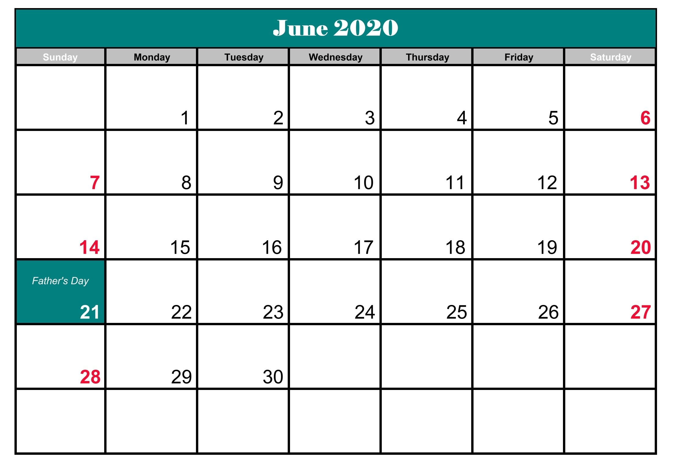 June 2020 Calendar With Holidays Usa Uk Canada India