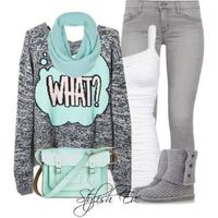 Cute teal outfit  with bag