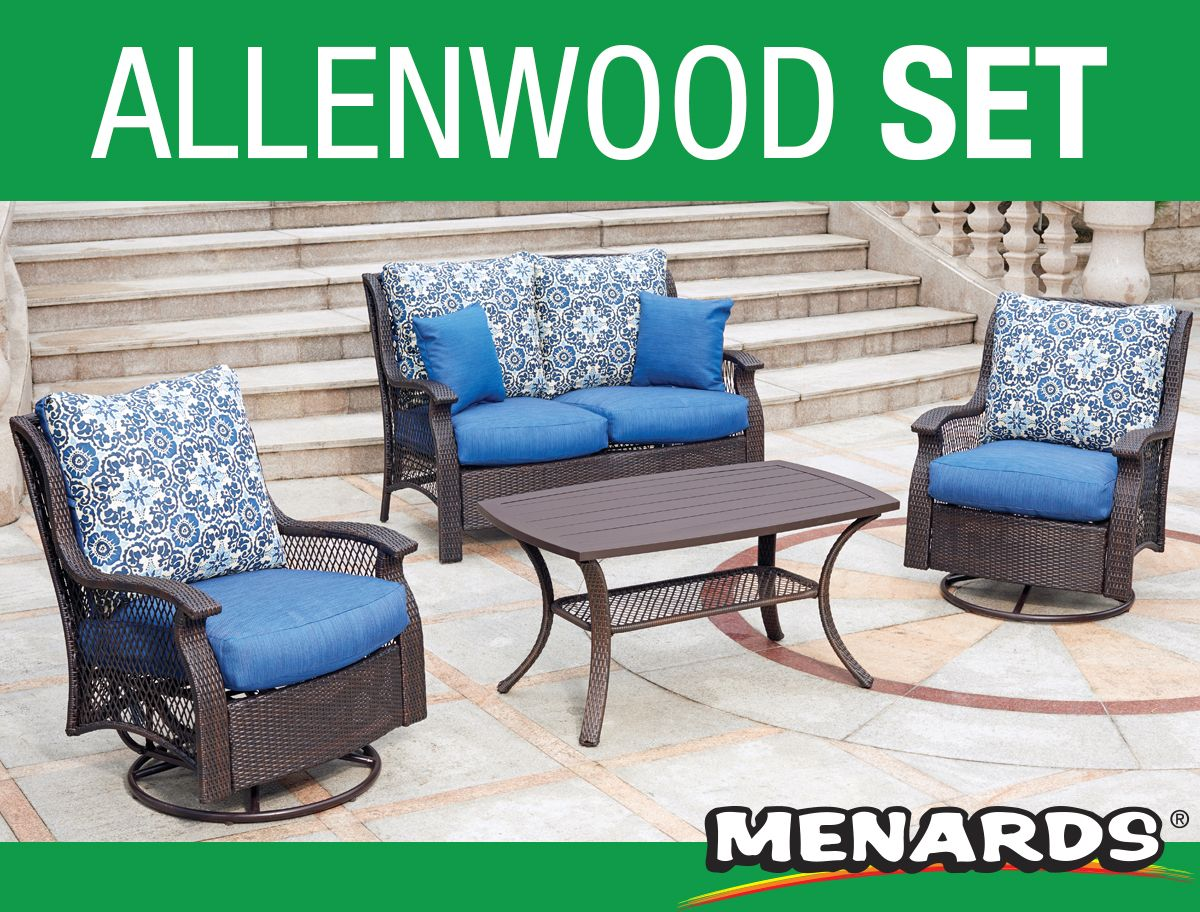 This Allenwood Deep Seating Patio Set Features Hand Woven Wicker Wrapped All Weather Steel Fra Patio Furniture Collection Outdoor Furniture Sets Deep Seating
