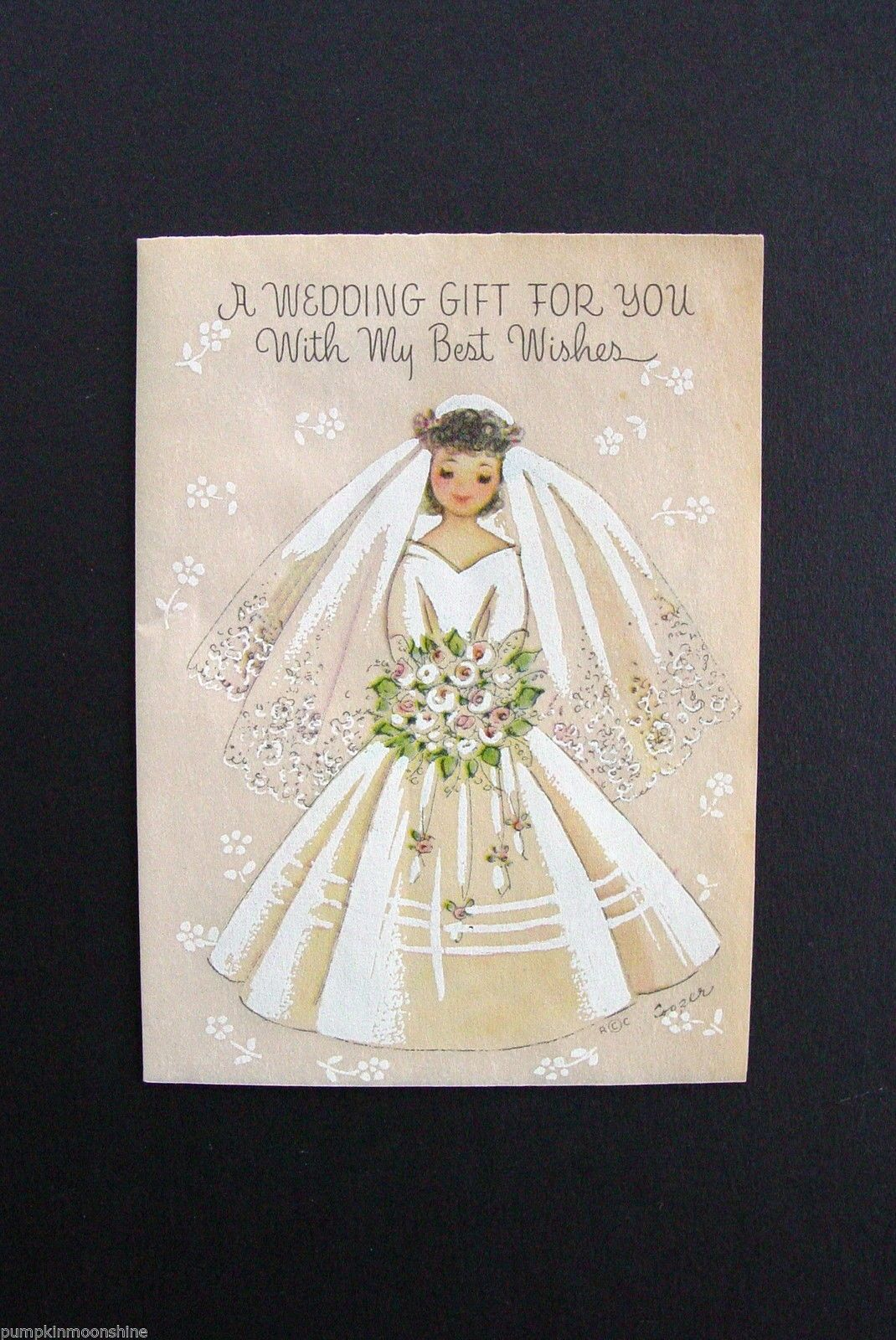 D497 Vintage Marjorie M Cooper Wedding Wishes Greeting Card Pretty