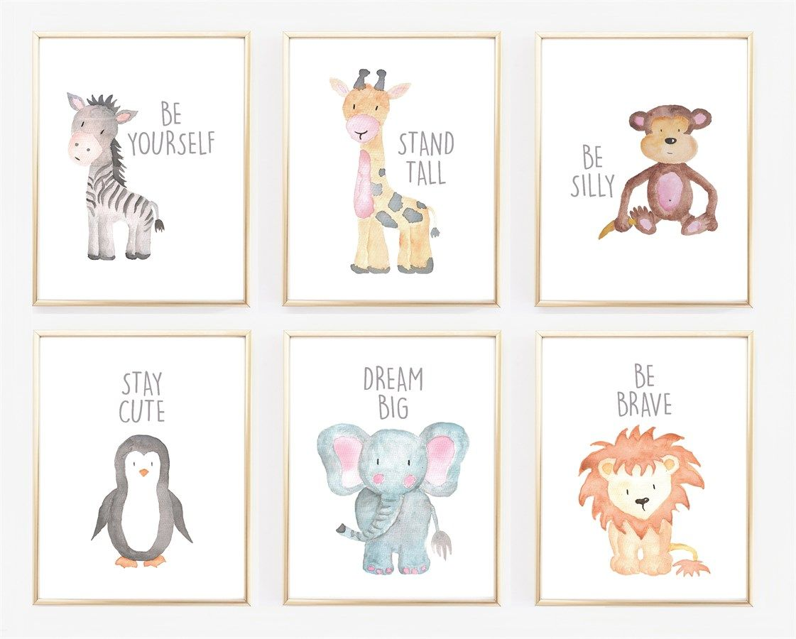Watercolor Baby Animal Nursery Prints Jane Bedroom