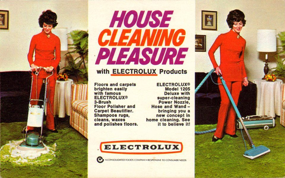 Electrolux floor and carpet cleaners (1970s postcard