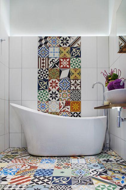 Décoration salle de bain carrelage coloré bathroom | WC CI | Salle ...