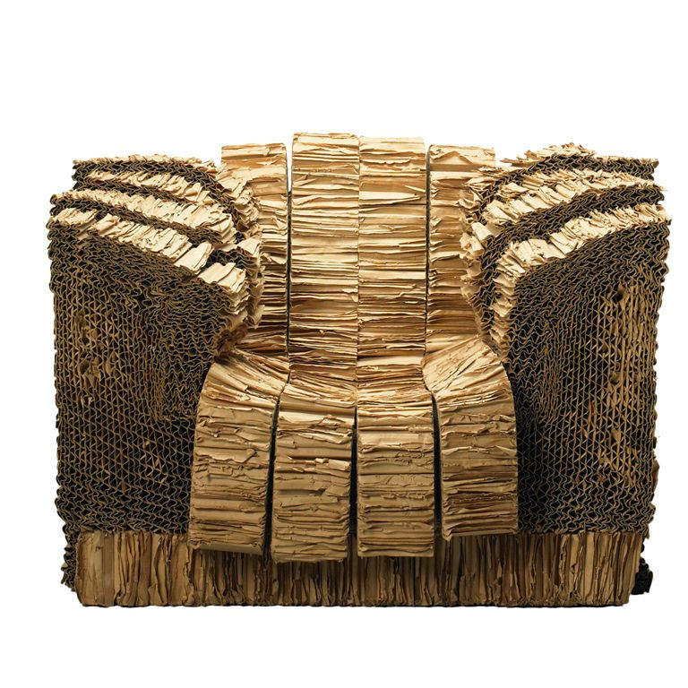 grandpa beaver armchair from the experimental edges series by frank gehry cardboard cork paper. Black Bedroom Furniture Sets. Home Design Ideas