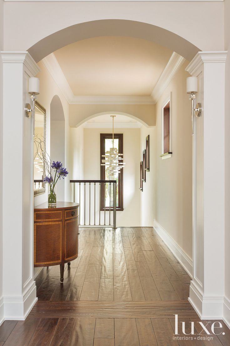 Transitional Neutral Upstairs Hallway Luxe Halls