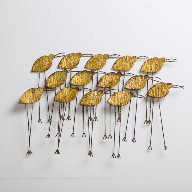 A Rare Curtis Jere Metal Sandpiper Wall Sculpture 1970s | From a unique collection of antique and modern sculptures at https://www.1stdibs.com/furniture/more-furniture-collectibles/sculptures/