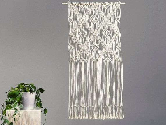 Beautiful GEOMETRIC macrame wall art. Modern design. Size: wooden stick: 55 cm (21,7'') length of woven – from top of wood to bottom of fringe: 100 cm (39,4'') 100% handmade NATURAL cotton cord We ship WORLDWIDE! Shipping to Europe normally takes 5-8 working days, to US, Canada – 7-15 working days. Please feel free to contact me if you have any questions. Thank you for visiting MOX macrame! To see similar my product click here: https://www.etsy.com/shop/MOXmacrame?ref&...