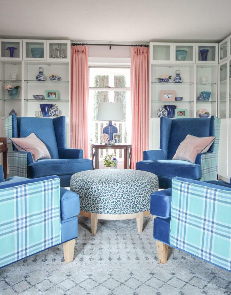 Decorating With Pink Wing Chairs Library Room Design Decorating With Pink Turquoise Living Room Decor Living Room Design Modern Small Modern Living Room