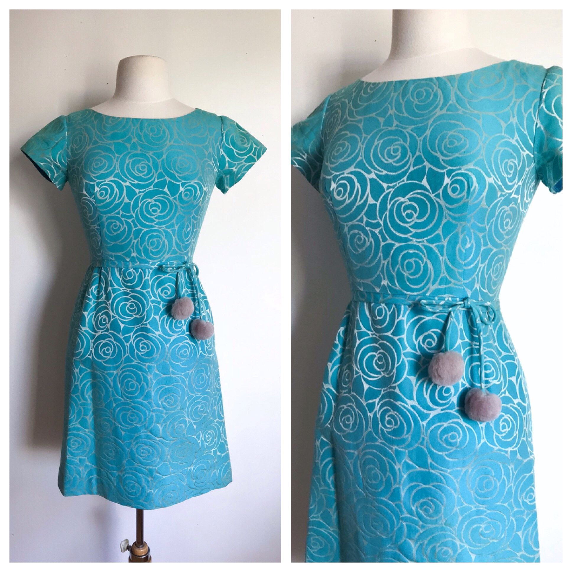 Vintage Dress. 1960\'s Turquoise and Silver Mod Girl Fitted Bodice A ...