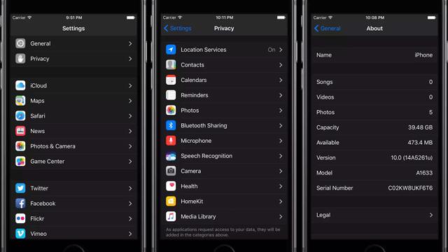 Revelan que iOS 10 tiene un modo oscuro oculto para la