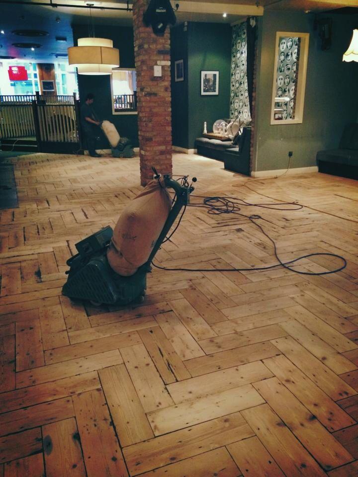 Oversized Pine Herringbone Parquet Flooring In London Decorating