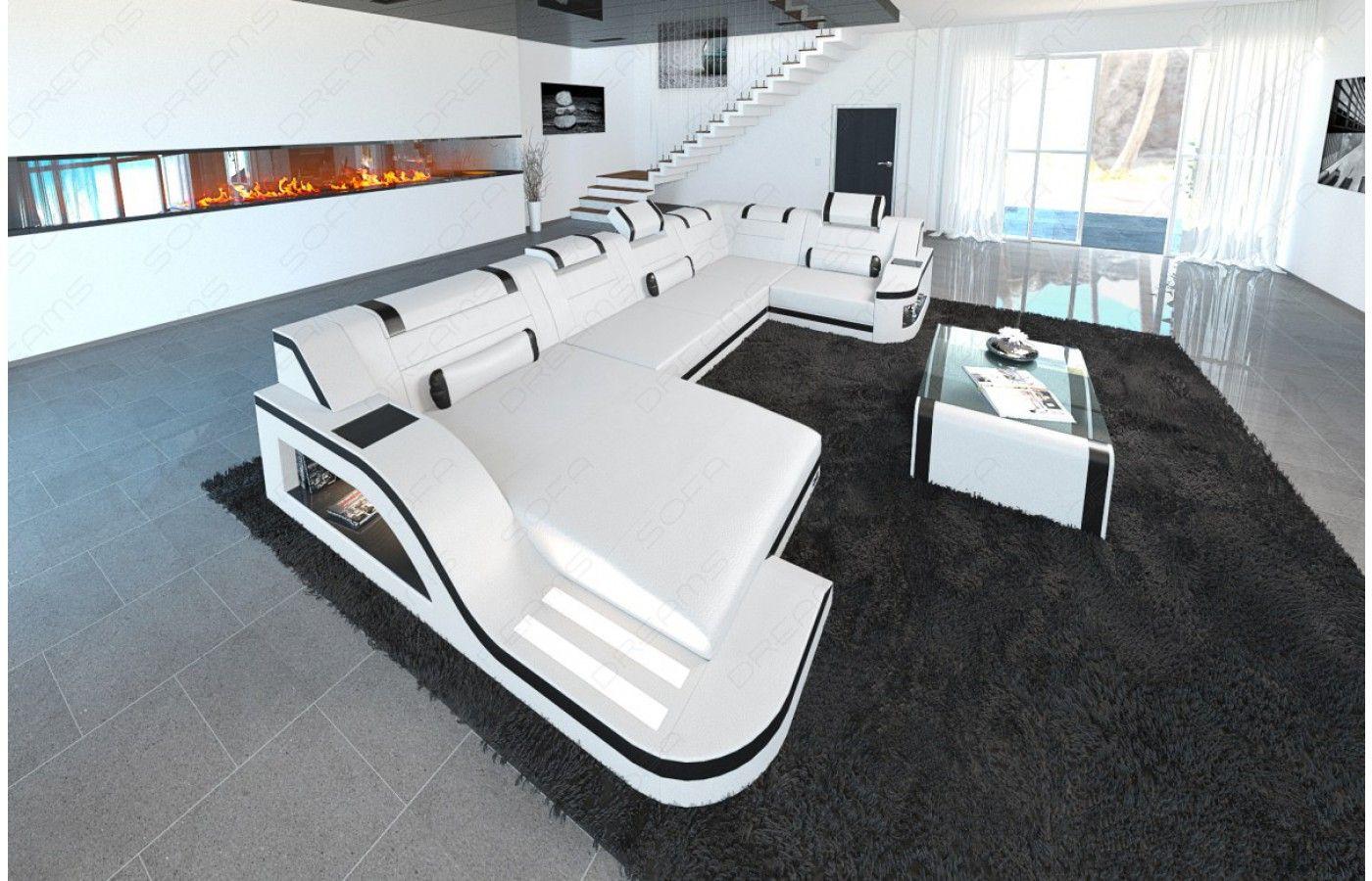 Couch u form leder  Moderne #Design Wohnlandschaft TURINO U-Form aus #Leder mit #LED ...