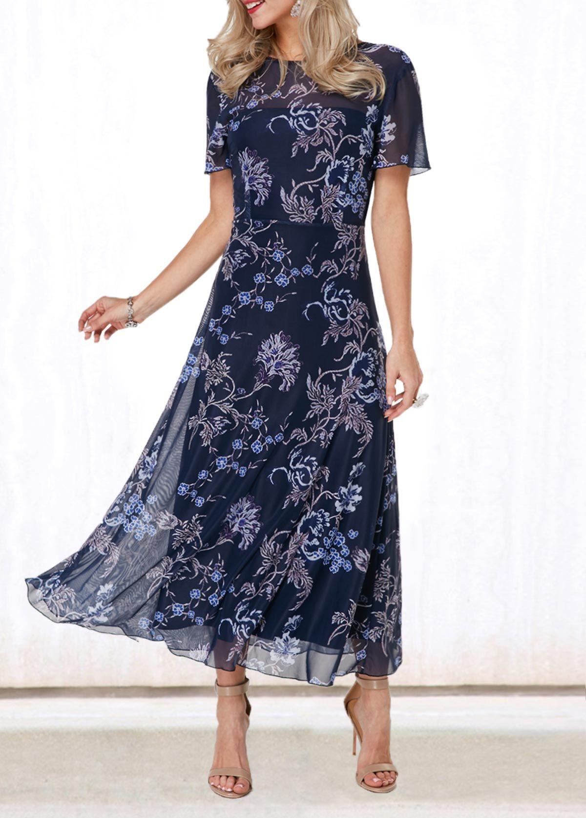 c3a303a731c4 Dresses online for sale. V Back Round Neck Flower Print Dress   Rotita.com  - USD $40.70