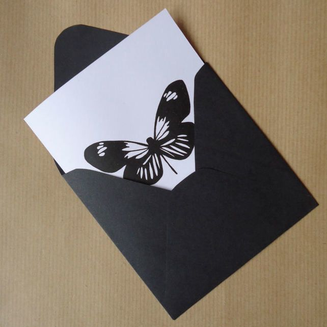 Butterfly card and envelope, handmade and silks... - Folksy