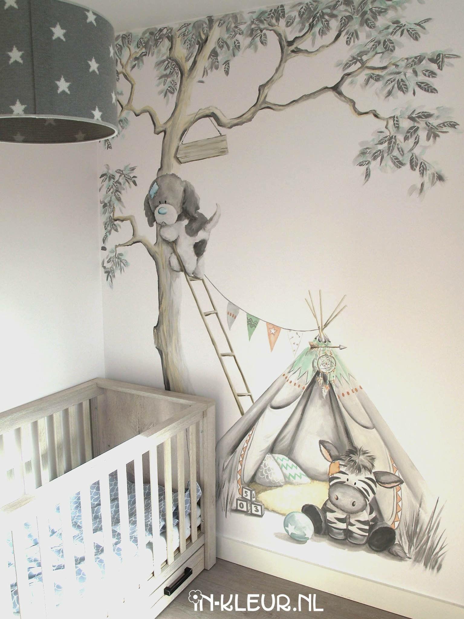 muurschildering babykamer boom tipi indianen tent veertjes beertje wohnen. Black Bedroom Furniture Sets. Home Design Ideas
