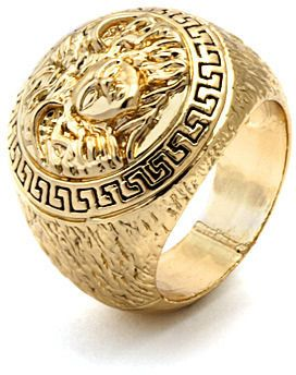 35a5e1ccb King Ice Mens Medusa Yellow Gold Ring on shopstyle.com | Things to ...